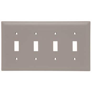 Pass & Seymour TP4-GRY 4-Gang 4-Toggle Switch Gray Nylon Standard Unbreakable Wallplate