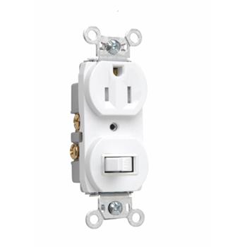 Pass & Seymour 691-TRW 15 Amp 120/125 VAC NEMA 5-15R White Tamper-Resistant Combination 1-Pole Switch/Single Receptacle