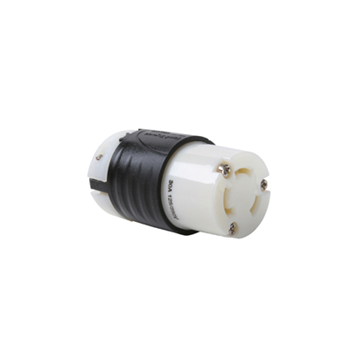 Pass & Seymour L1030-C 30 Amp 125/250 VAC 3-Pole 3-Wire L10-30R Black and White Nylon Locking Connector