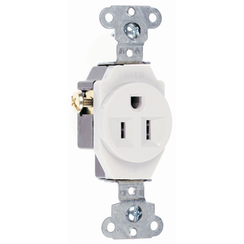 Pass & Seymour 5251-W 15 Amp 125 VAC 2-Pole 3-Wire NEMA 5-15R White Heavy Duty Straight Blade Single Receptacle