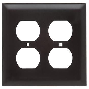 Pass & Seymour TP82 2-Gang 2-Duplex Receptacle Brown Nylon Standard Unbreakable Wallplate