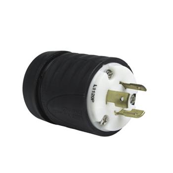Pass & Seymour L1120P 20 Amp 250 VAC 3-Phase 3-Pole 3-Wire NEMA L10-20P Black and White Nylon Straight Locking Plug