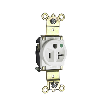 Pass & Seymour 8301-W 20 Amp 125 VAC 2-Pole 3-Wire NEMA 5-20R White Nylon Face Thermoplastic Back Body Single Receptacle