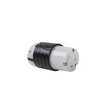 Pass & Seymour L530-C 30 Amp 125 VAC 2-Pole 3-Wire L5-30R Black and White Nylon Locking Connector