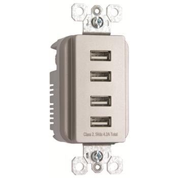 PS TM8USB4N-ICC6 USB Quad Charger -Nickel Finish
