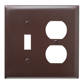 Pass & Seymour TP18 2-Gang 1-Toggle Switch 1-Duplex Receptacle Brown Nylon Standard Combination Unbreakable Wallplate
