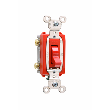 Pass & Seymour PS20AC2-RED 20 Amp 120/277 VAC 2-Pole Red Glass Reinforced Nylon Screw Mounting Toggle Switch