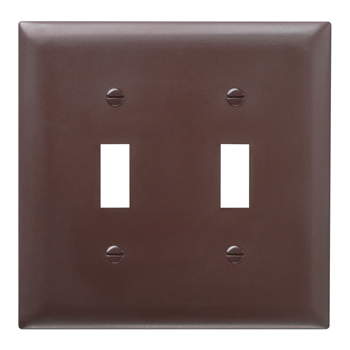 Pass & Seymour TP2 2-Gang 2-Toggle Switch Brown Nylon Standard Unbreakable Wallplate