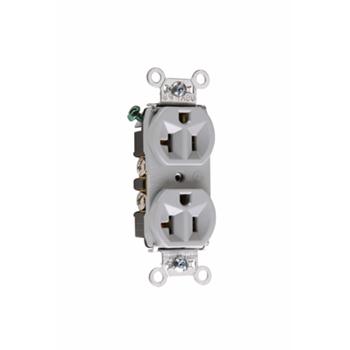 Pass & Seymour 5362-GRY 20 Amp 125 VAC 2-Pole 3-Wire NEMA 5-20R Gray Nylon Duplex Receptacle
