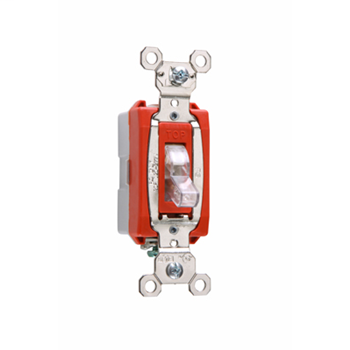 Pass & Seymour PS20AC1-CSL 20 Amp 120/277 VAC 1-Pole Clear Glass Reinforced Nylon Screw Mounting Lighted Toggle Switch