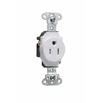 Pass & Seymour TR5251-W 15 Amp 125 VAC 2-Pole 3-Wire NEMA 5-15R White Nylon Face Tamper-Resistant Single Receptacle