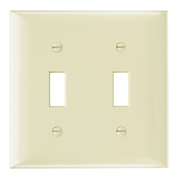 Pass & Seymour SP2-I 2-Gang 2-Toggle Ivory Smooth Thermoset Plastic Standard Wallplate