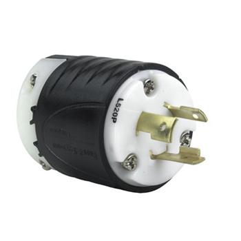 Pass & Seymour L520-P 20 Amp 125 VAC 2-Pole 3-Wire NEMA L5-20P Black and White Nylon Straight Locking Plug