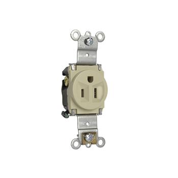 Pass & Seymour 5261-I 15 Amp 125 VAC 2-Pole 3-Wire NEMA 5-15R Ivory Nylon Face Single Receptacle