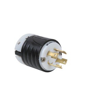 Pass & Seymour L1530-P 30 Amp 250 VAC 3-Phase 3-Pole 4-Wire NEMA L15-30P Black and White Nylon Straight Locking Plug