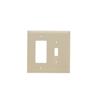 Pass & Seymour TPJ126-I 2-Gang 1-Toggle Switch 1-Decorator Ivory Nylon Jumbo Combination Unbreakable Wallplate