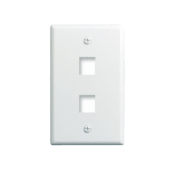 On-Q WP3402-WH 1-Gang 2-Port White High Impact Flame Retardant Plastic Keystone Wallplate