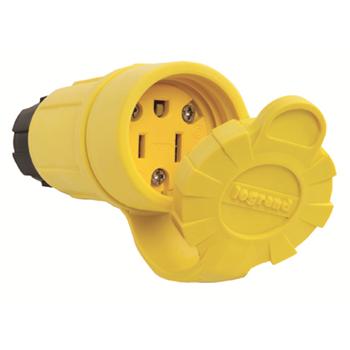 Pass & Seymour 15W-47 15 Amp 125 Volt 2-Pole 3-Wire NEMA 5-15R Yellow Rubber Polarized Straight Blade Connector