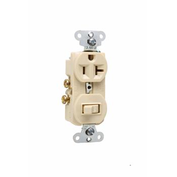 Pass & Seymour 671-I 20 Amp 120/125 VAC NEMA 5-20R Ivory Combination 1-Pole Switch/Single Receptacle