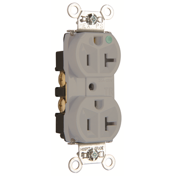 Hospital-Grade Tamper-Resistant Compact Design Receptacle, Back & Side Wire, 20A, 125V, Gray TR8300HGRY
