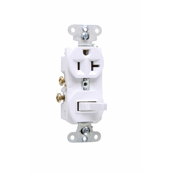Pass & Seymour 671W 20 Amp 120/125 Volt White Combination Single-Pole Switch and Single Receptacle