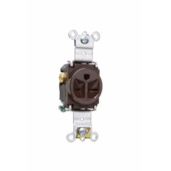 Pass & Seymour 5671 15 Amp 250 VAC 2-Pole 3-Wire NEMA 6-15R Brown Nylon Face Thermoplastic Back Body Single Receptacle