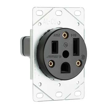 Pass & Seymour 3804 50 Amp 250 VAC 2-Pole 3-Wire NEMA 6-50R Flush Mount Straight Blade Power Receptacle