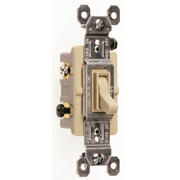 Pass & Seymour 663-IG 15 Amp 120 VAC 3-Way Ivory Thermoplastic Screw Mounting Grounding Toggle Switch