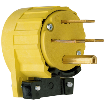 Pass & Seymour 5741-AN 30 Amp 250 VAC 3-Phase 3-Pole 4-Wire NEMA 15-30P Yellow Angled Straight Blade Power Plug