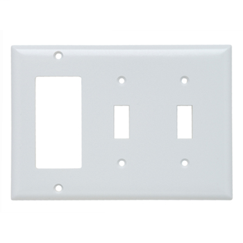 Pass & Seymour SP226-W 3-Gang 2-Toggle 1-Decorator White Smooth Thermoset Plastic Standard Combination Wallplate