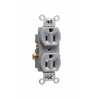 Pass & Seymour CR15-GRY 15 Amp 125 VAC 2-Pole 3-Wire NEMA 5-15R Gray Nylon Face Corrosion-Resistant Duplex Receptacle