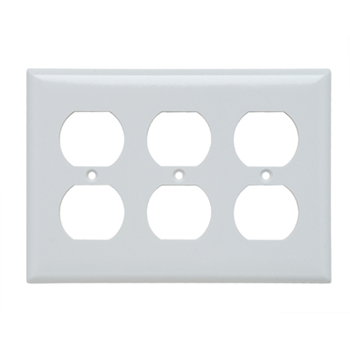 Pass & Seymour SP83-W 3-Gang 3-Duplex White Smooth Thermoset Plastic Standard Wallplate