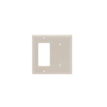 Pass & Seymour SP1426-LA 2-Gang 1-Blank 1-Decorator Light Almond Smooth Thermoset Plastic Standard Combination Wallplate