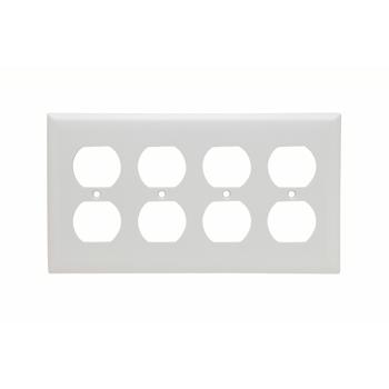 Pass & Seymour SP84-W 4-Gang 4-Duplex White Smooth Thermoset Plastic Standard Wallplate