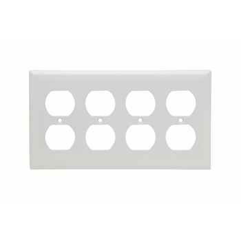 Duplex Receptacle Wall Plate, Four Gang, White SP84W