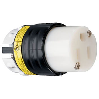 Pass & Seymour PS5269-XGCM 15 Amp 125 Volt 2-Pole 3-Wire NEMA 5-15R Black and White Nylon Angled Straight Blade Connector