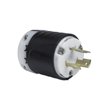 Pass & Seymour L820-P 20 Amp 480 VAC 2-Pole 3-Wire NEMA L8-20P Black and White Nylon Straight Locking Plug