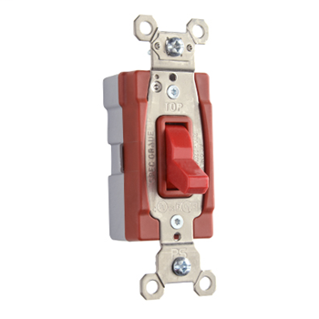 PlugTail Three-Way 20 amp Toggle Switch, Red PT20AC3RED