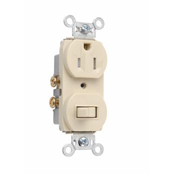 Pass & Seymour 691-TRI 15 Amp 120/125 VAC NEMA 5-15R Ivory Tamper-Resistant Combination 1-Pole Switch/Single Receptacle