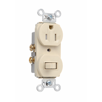 Mayer-15A, 120/125V Combination Single-Pole Switch & Tamper-Resistant Single Receptacle, Ivory 691TRI-1