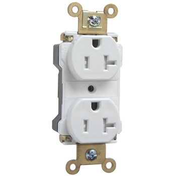 Mayer-PlugTail® Industrial Extra Heavy-Duty Spec Grade Tamper-Resistant Receptacles, 20A, 125V, White PTTR63W-1