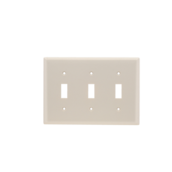 Pass & Seymour TP3-LA 3-Gang 3-Toggle Switch Light Almond Nylon Standard Unbreakable Wallplate