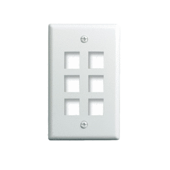 Mayer-1-Gang, 6-Port Wall Plate, White WP3406-WH-1