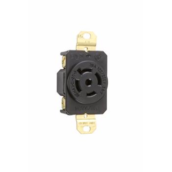 Pass & Seymour L2120-R 20 Amp 120/208 VAC 3-Phase 4-Pole 5-Wire NEMA L21-20R Impact Resistant Nylon Locking Single Receptacle