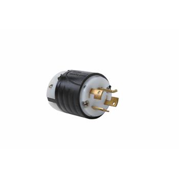 Pass & Seymour 7411-SS 20 Amp 120/208 VAC Star 3-Phase 4-Pole 4-Wire Black and White Nylon Straight Locking Plug