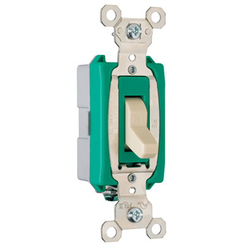Pass & Seymour PS30AC1-I 30 Amp 120/277 VAC 1-Pole Ivory Glass Reinforced Nylon Screw Mounting Toggle Switch