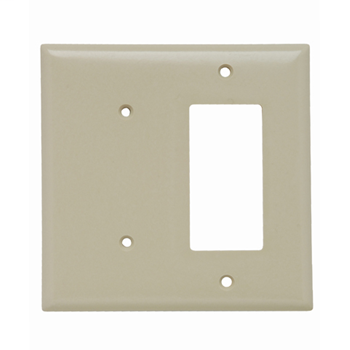 Pass & Seymour SP1426-I 2-Gang 1-Blank 1-Decorator Ivory Smooth Thermoset Plastic Standard Combination Wallplate