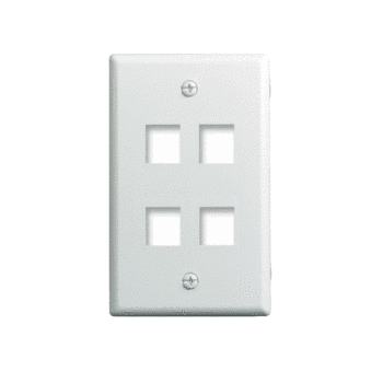 Mayer-1-Gang, 4-Port Wall Plate, White WP3404-WH-1