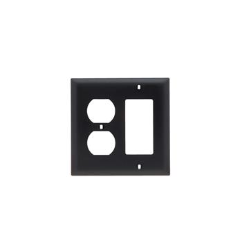 Pass & Seymour TP826-BK 2-Gang 1-Duplex Receptacle 1-Decorator Black Nylon Standard Combination Unbreakable Wallplate
