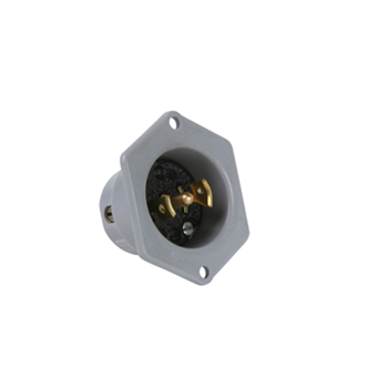 Pass & Seymour ML315 2.06 x 1.13 Inch 125/250 VAC 15 Amp 3-Pole 3-Wire Black/Gray Midget Lock Flanged Outlet